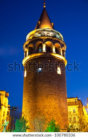 Galata Towers at the Istanbul Turkey 2 - stock photo