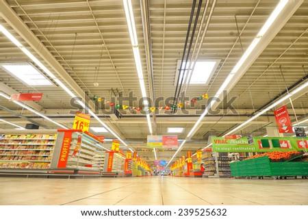 GALATI, ROMANIA - APRIL 04: Photos at Hypermarket Auchan grand opening in Galati, Romania on April 04, 2014 - stock photo