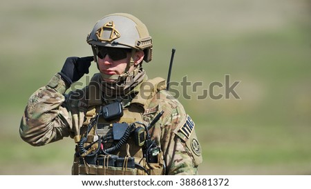 GALATI, ROMANIA - APRIL 22 : USA Military in Romanian military polygon in the exercise Smardan Wind Spring 15 in Galati, Romania, 22 April 2015