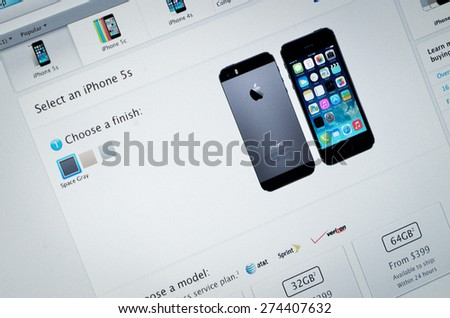 Galati, Romania - June 23: Photo of Apple homepage on a monitor screen, on 23 June, 2014, in Galati, Romania - stock photo