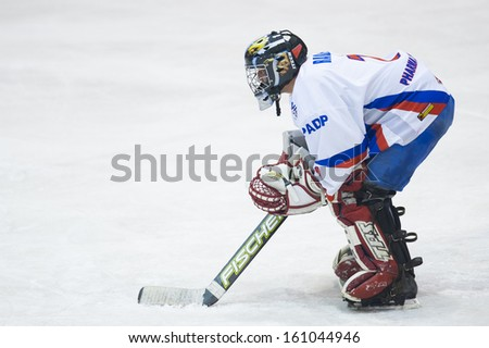GALATI, ROMANIA - NOVEMBER 17: Hockey player from CSS HSC Csikszereda during the CSM Dunarea Galati vs CSS HSC Csikszereda game, score 10-1, on November 17 , 2012 in Galati, Romania - stock photo