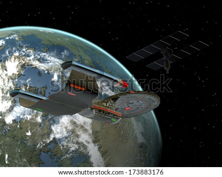 Galaxy Class Star Cruiser - A space vehicle stays near the spacestation in orbit around the Earth. - stock photo