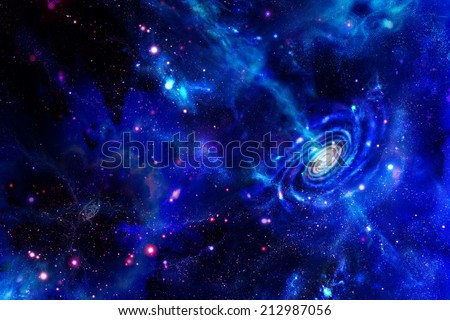 Galaxy-emitting substance and molecular clouds - stock photo