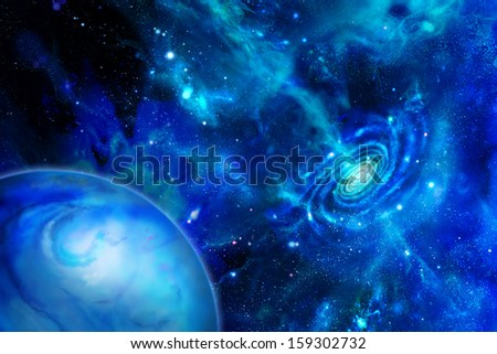 Galaxy emitting substance and the planet - stock photo