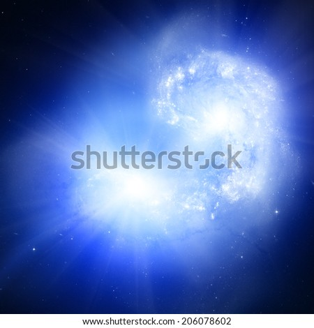 Galaxy outburst caused by supernova. Elements of this image furnished by NASA.  - stock photo