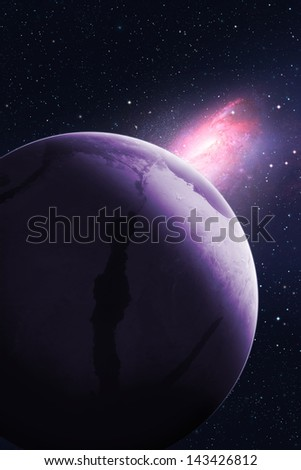 "Galaxy turns towards planet. ""Elements of this image furnished by NASA"" - stock photo"