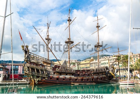 Galeone old wooden ship in a summer day in Genoa, Italy - stock photo