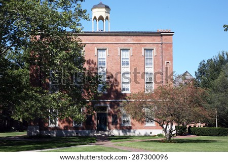 GALESBURG, IL-MAY, 2015:  Knox College, a small liberal arts college founded in 1837.  The Abraham Lincoln and Stephen Douglas debates were held on the campus in 1858. - stock photo