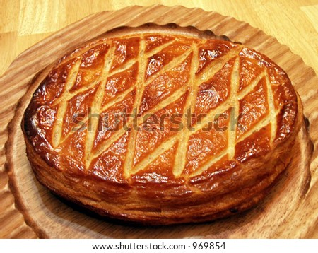 Galette - 'galette des Rois' is a French puff pastry filled with frangipane served once a year the Epiphany day - stock photo