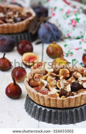 Galette with fresh fig - stock photo