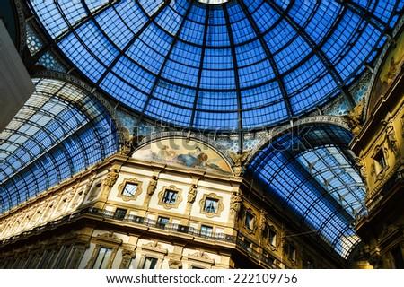 Galleria Vittorio Emanuele II in central of Milan, Italy - stock photo