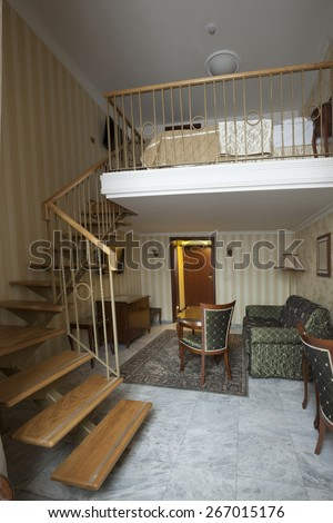 gallery in duplex apartment - stock photo