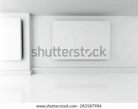 Gallery Interior. Blank Frames On Wall. Architecture Design Background. 3d Render Illustration - stock photo