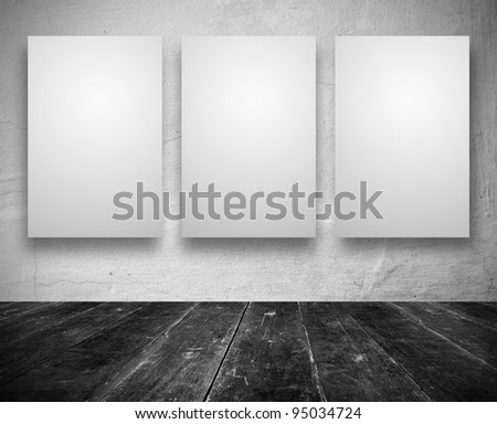 Gallery Interior with empty banners in a old white room