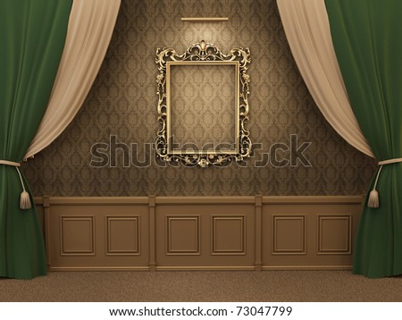 Gallery Interior with empty frame on wall with curtain. - stock photo