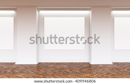 Gallery interior with several blank canvas hanging on wall. Wooden flooring. Mock up, 3D Rendering - stock photo