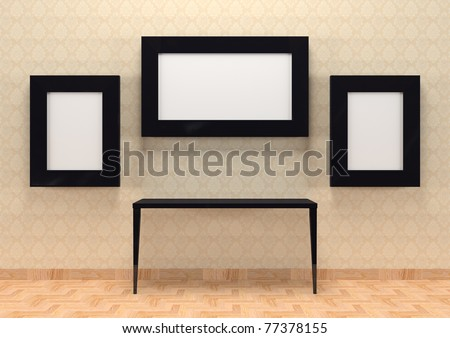 Gallery interior with table and empty black frames on wall - stock photo