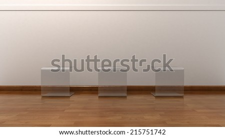 Gallery Interior with Three Empty Glass Tables for Exhibition Objects - stock photo