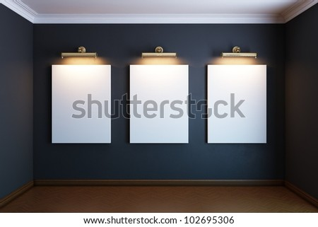 gallery interior with three golden empty frame and lighters (black version) - stock photo
