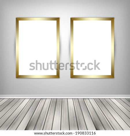 Gallery interior with two empty frames on wall