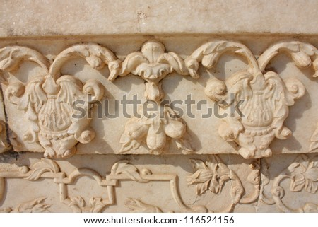 Gallery of pillars at Agra Fort. Agra, Uttar Pradesh, India - stock photo