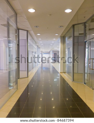 Gallery of shopping area with clear showcase - stock photo