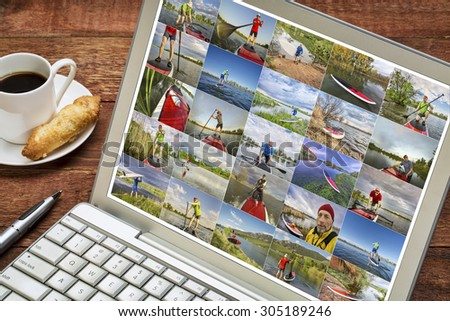 gallery  of stand up paddling pictures from Colorado featuring the same senior male model - reviewing and editing images on a laptop with a cup of coffee - stock photo