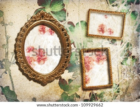 Gallery/small golden vintage frames on the wall - stock photo
