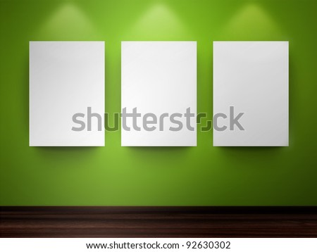 Gallery with empty frames on wall - stock photo