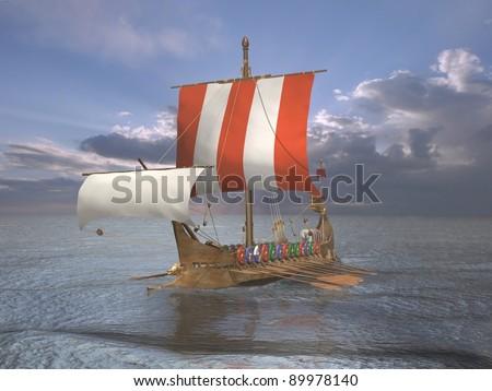 Galley ship - stock photo