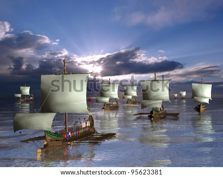 Galleys ships - stock photo