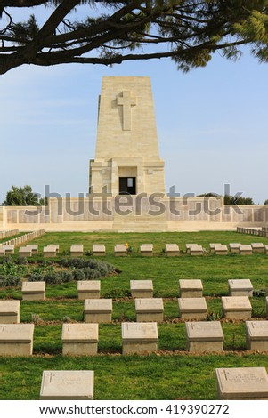GALLIPOLI, TURKEY - FEBRUARY 23, 2016: Cemetery and monument dedicated to those lost in the Gallipoli Peninsula at Anzac Cove in Turkey during World War I - stock photo