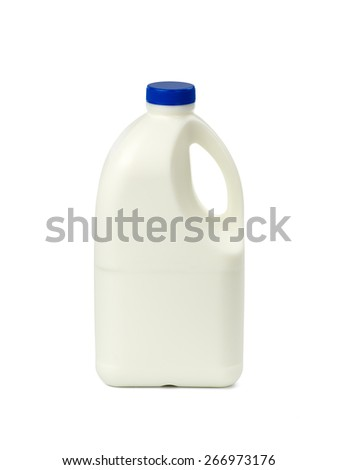 Gallon of Whole Milk with clipping path Isolated on White Background - stock photo