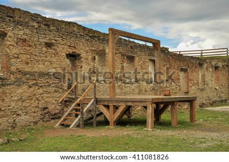 Gallows and execution platform in medieval fortress - stock photo