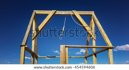 Gallows and noose at noon - stock photo