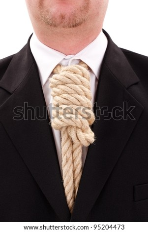Gallows rope necktie in place of tie - stock photo