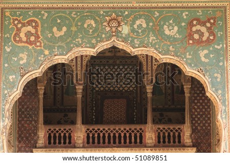 Galtaji Temple is the Monkey Palace, 10 km from Jaipur in Indian state of Rajasthan - stock photo