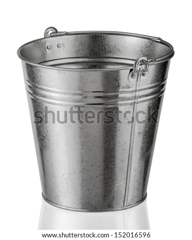 galvanized metal bucket on a white background