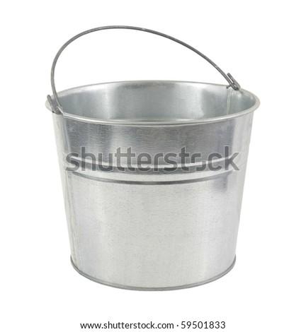 galvanized metal bucket on a white background - stock photo
