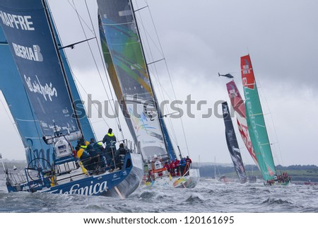 GALWAY, IRELAND - JULY 7: Start of In-port race of 2011-2012 Volvo Ocean Race in Galway, Ireland on July 7, 2012.