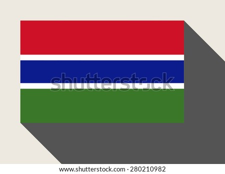 Gambia flag in flat web design style. - stock photo