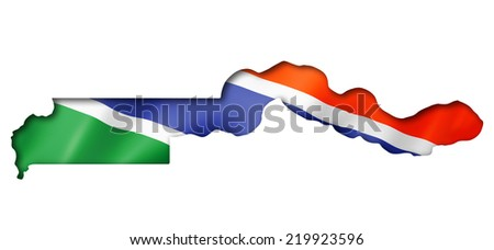 Gambia flag map, three dimensional render, isolated on white - stock photo