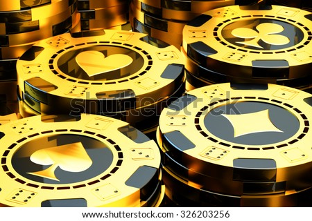 Gambling and casino concept, stack of golden poker chips close-up view - stock photo