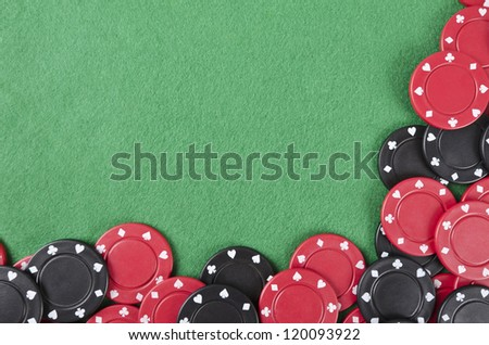 Gambling background with poker chips and copy space - stock photo
