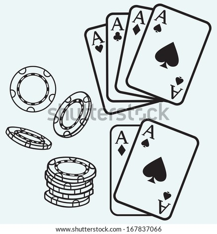 Gambling. Cards and chips isolated on blue batskground. Raster version - stock photo