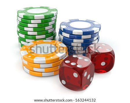 Gambling casino. Dice and chips on white isolated background. - stock photo