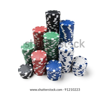 Gambling chips isolated on white close up
