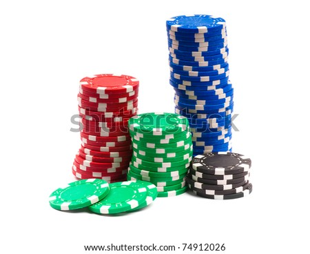 Gambling Chips Isolated over white background - stock photo