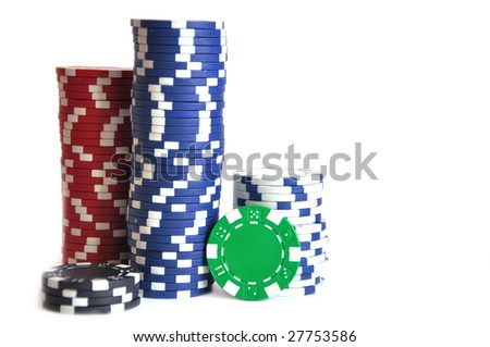 gambling chips over white