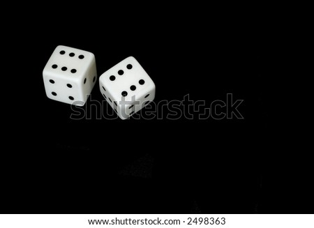 Gambling dices isolated on black (also available on white or green backgrounds) - stock photo